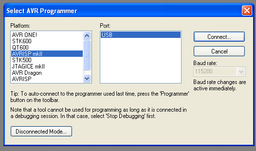 Selecting a programmer, AVRISP mkII in my case